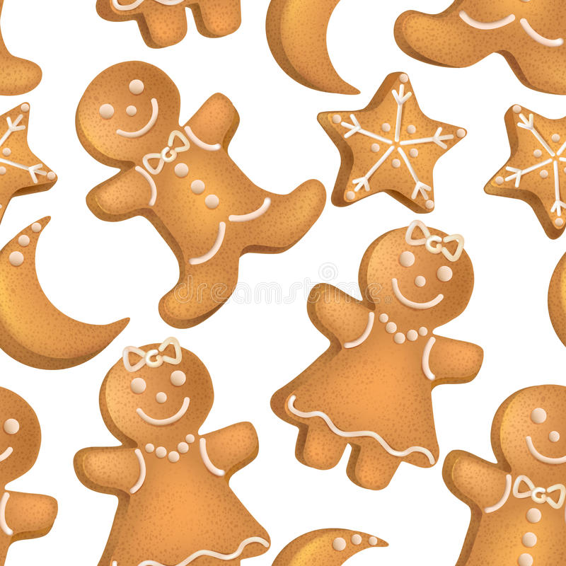 Teste padrão sem emenda de biscoitos do Natal ilustração stock