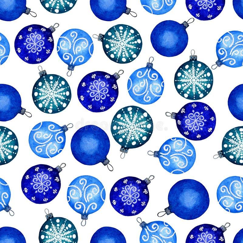Teste padrão sem emenda de bolas do Natal Ilustração do Watercolour de pintado à mão Decorações decorativas do feriado o ano novo ilustração do vetor