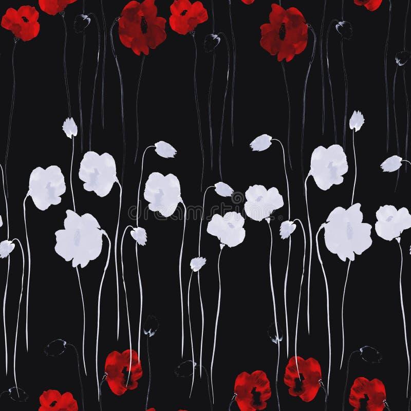 Teste padrão sem emenda de branco e profundamente - flores vermelhas da papoila no fundo preto Aquarela - 2 ilustração royalty free