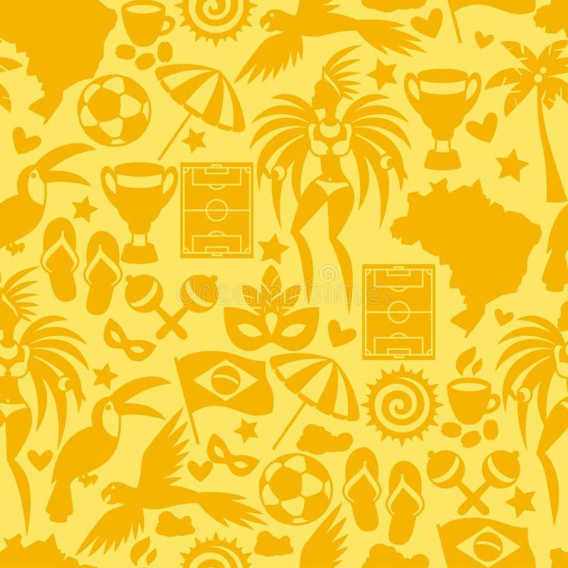 Teste padrão sem emenda de Brasil com objetos estilizados e ilustração royalty free