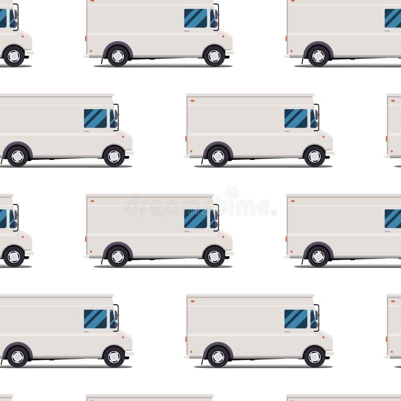 Teste padrão sem emenda de caminhões de entrega ilustração stock