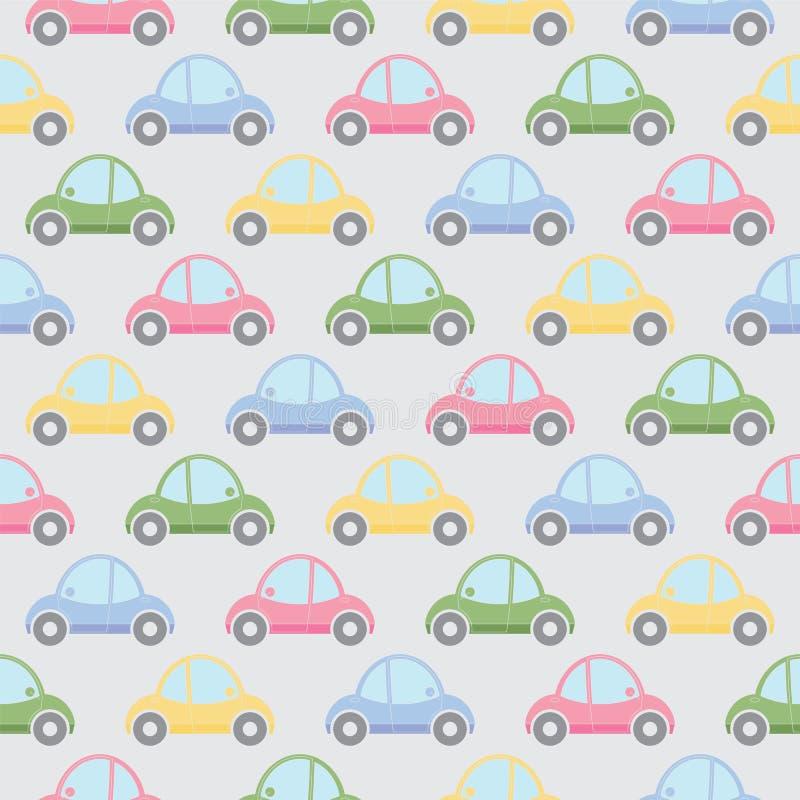 Teste padrão sem emenda de carros dos desenhos animados ilustração stock