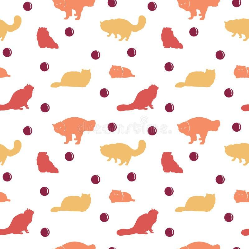 Teste padrão sem emenda de Cat Silhouette Wallpaper Background ilustração royalty free