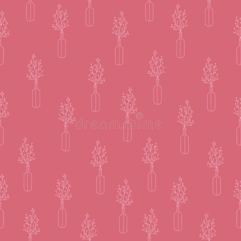 Teste padrão sem emenda de claro - mão cor-de-rosa ramos tirados com folha-corações no garrafas em um fundo cor-de-rosa ilustração stock