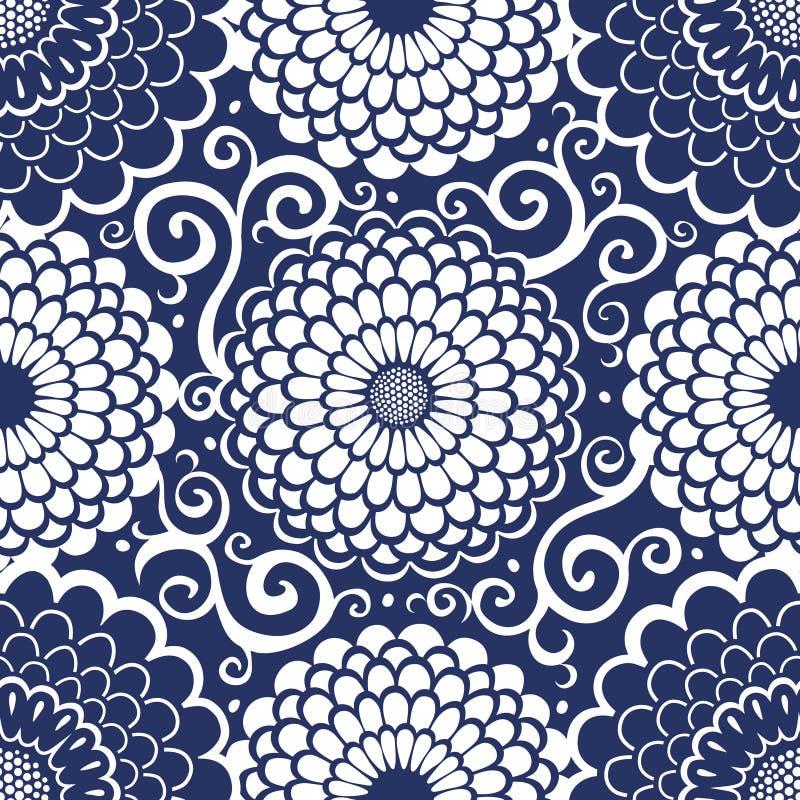 Teste padrão sem emenda de contraste com as grandes flores e ondas. ilustração do vetor