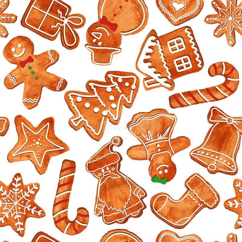 Teste padrão sem emenda de cookies do pão-de-espécie da aquarela ilustração stock