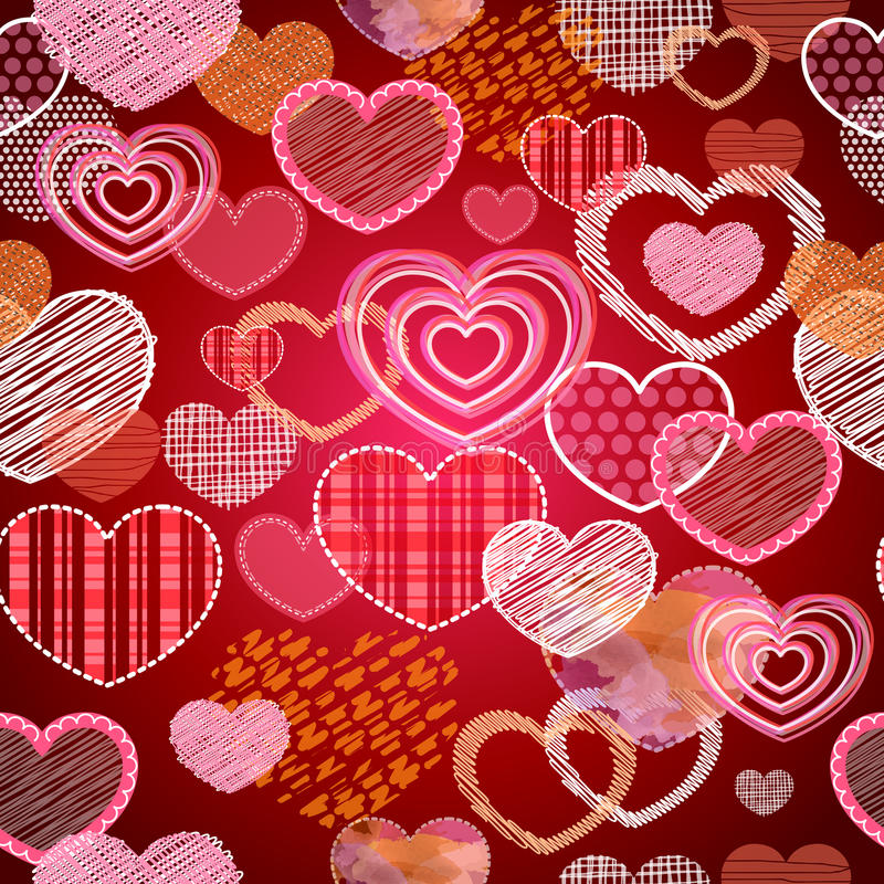 Teste padrão sem emenda de corações do amor do Valentim ilustração do vetor
