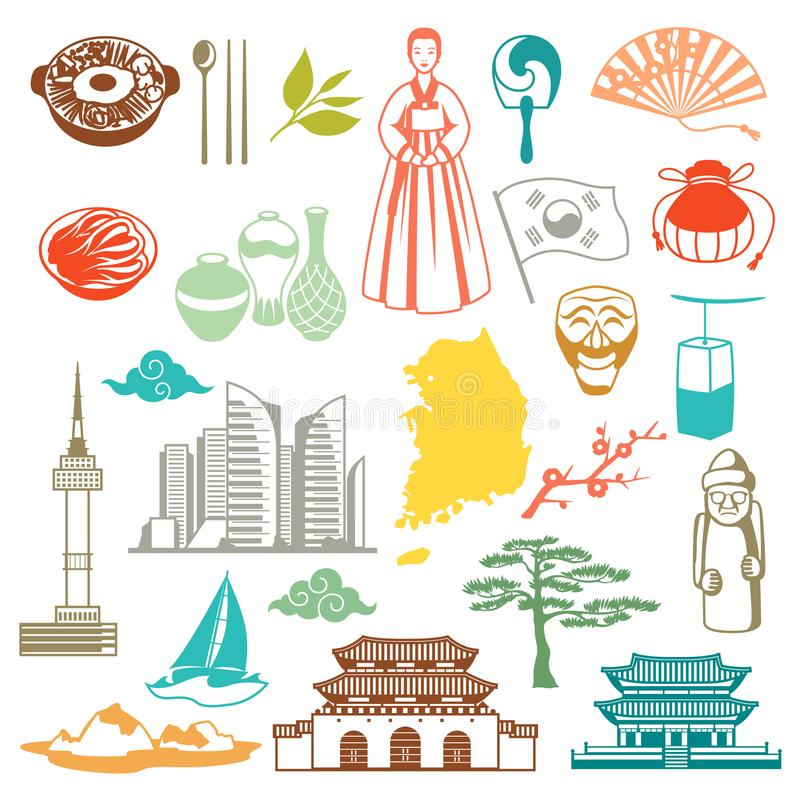 Teste padrão sem emenda de Coreia Símbolos e objetos tradicionais coreanos ilustração do vetor