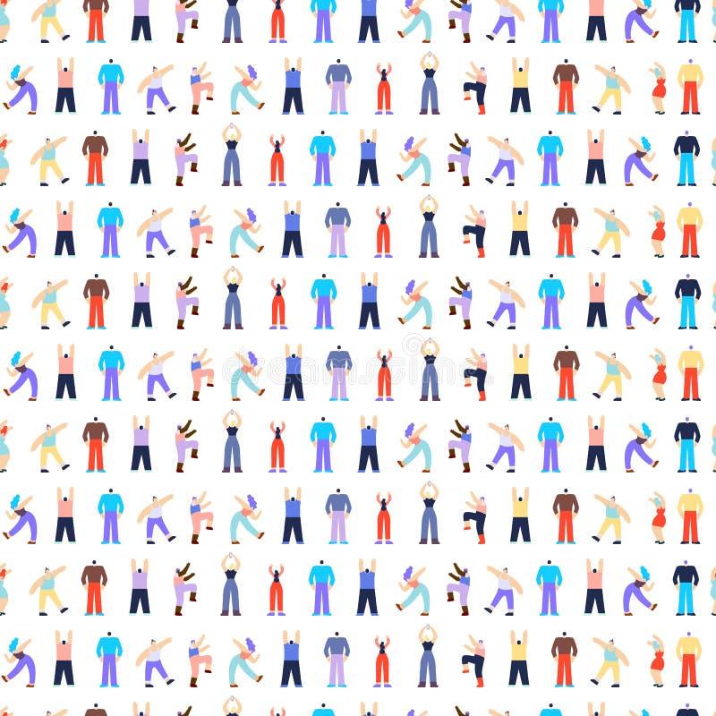 Teste padrão sem emenda de dança dos caráteres dos povos do disco ilustração royalty free