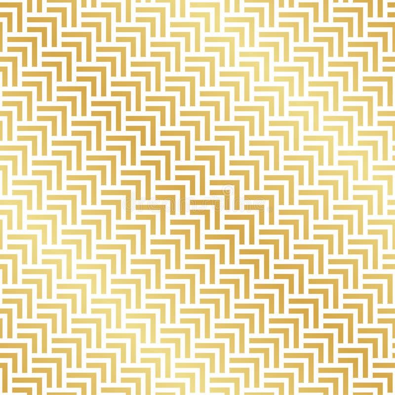 Teste padrão sem emenda de desenhos em espinha de Art Deco do ouro Fundo geométrico abstrato do teste padrão do vetor ilustração stock