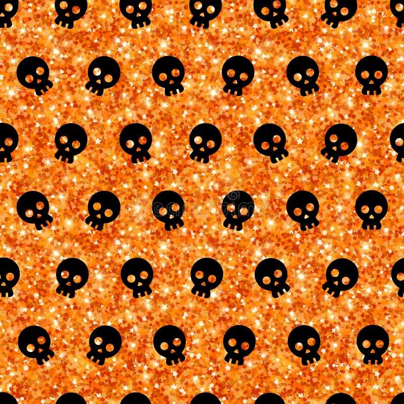 Teste padrão sem emenda de Dia das Bruxas com crânios pretos ilustração royalty free