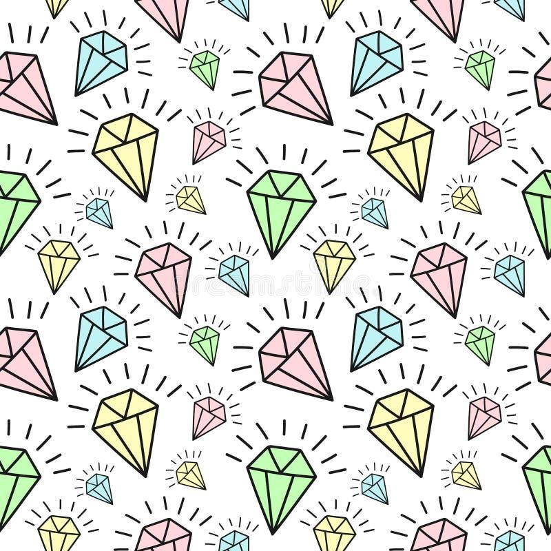 Teste padrão sem emenda de diamantes de brilho desenhados à mão Imagem de fundo do vetor para o feriado, festa do bebê ilustração stock