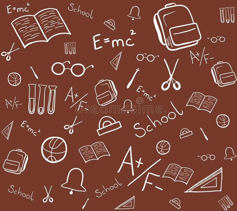 Teste padrão sem emenda de elementos da escola Ilustra??o isolada do vetor ilustração do vetor