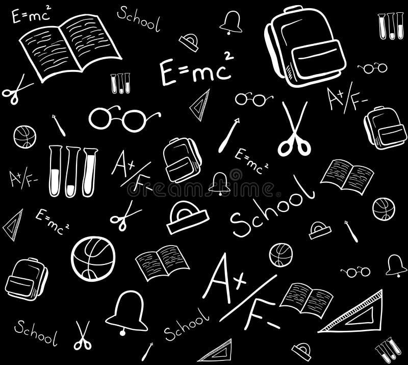 Teste padrão sem emenda de elementos da escola Ilustra??o isolada do vetor ilustração royalty free