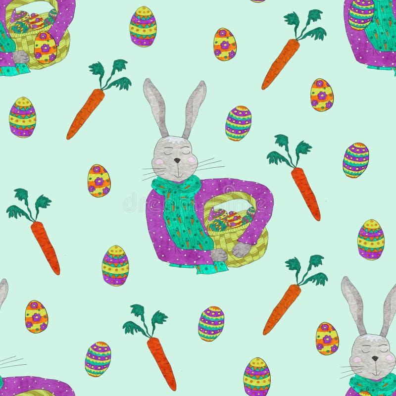 Teste padrão sem emenda de elementos da mola para o projeto da Páscoa Coelho, ovos e cesta ilustração do vetor
