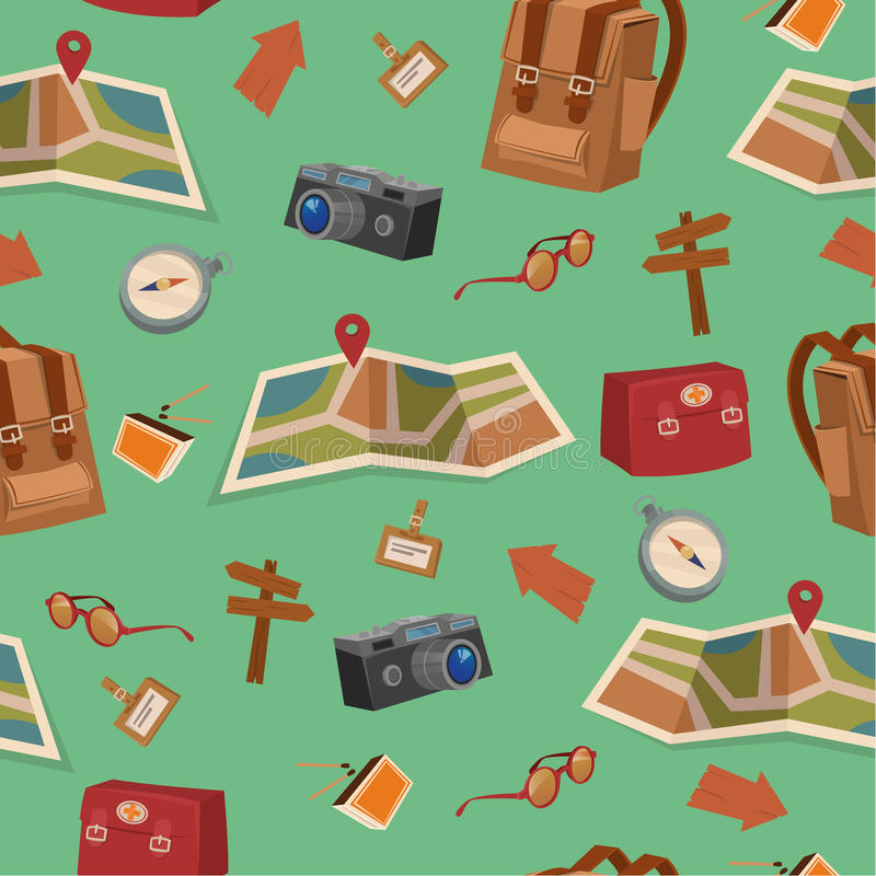 Teste padrão sem emenda de elementos de acampamento com bagagem ilustração royalty free