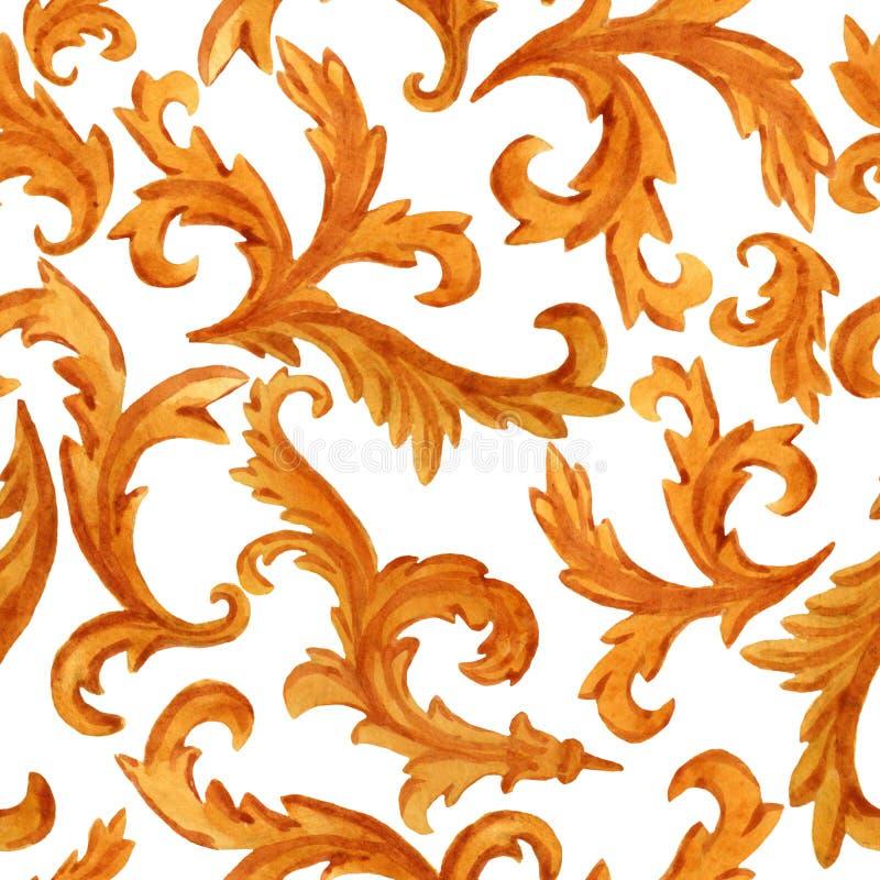 Teste padrão sem emenda de elementos dourados do estilo barroco dos rococós no fundo ilustração stock