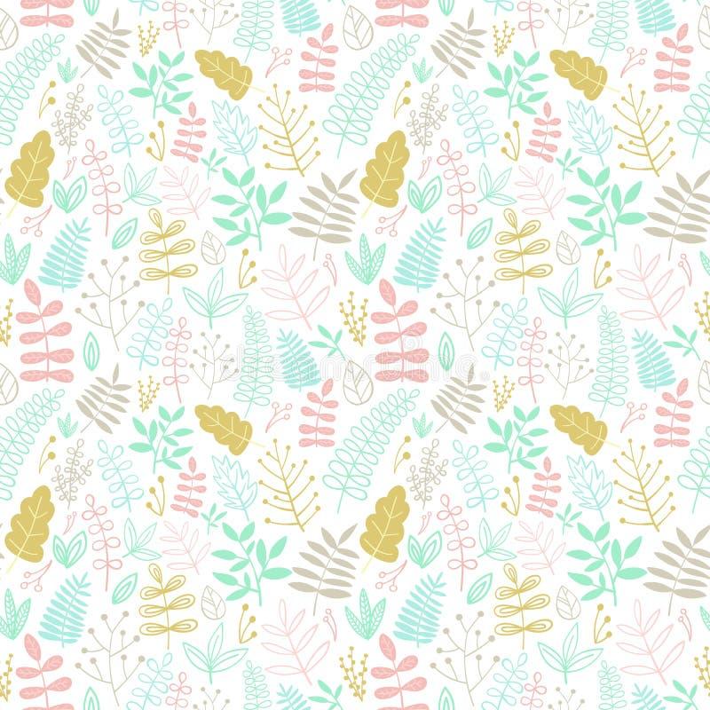 Teste padrão sem emenda de elementos florais desenhados à mão e de folhas dos desenhos animados Ilustração nas cores pastel para  ilustração do vetor