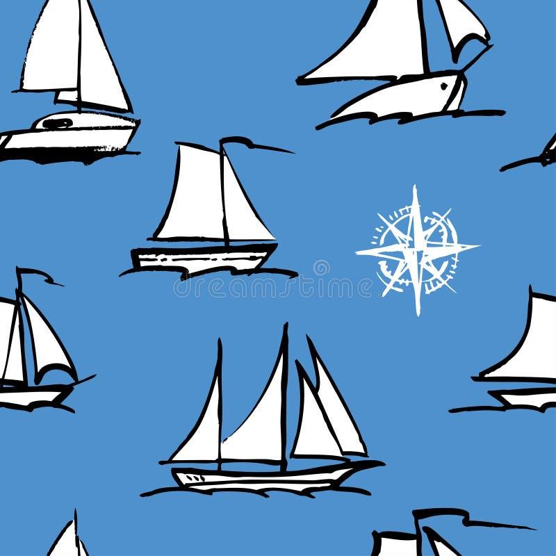 Teste padrão sem emenda de esboços dos veleiros ilustração royalty free