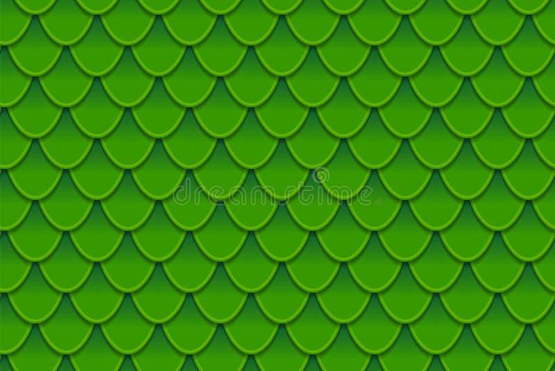 Teste padrão sem emenda de escalas de peixes verdes coloridas Escalas de peixes, pele do dragão, carpa japonesa, pele do dinossau ilustração stock