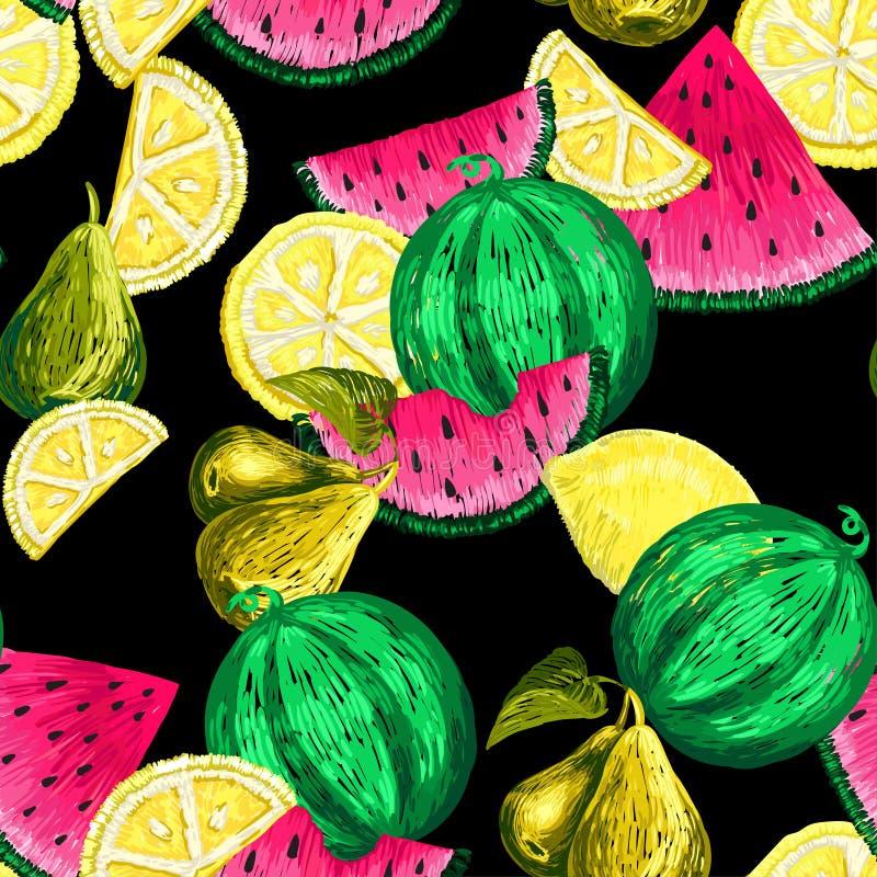 Teste padrão sem emenda de etiquetas dos frutos ilustração stock