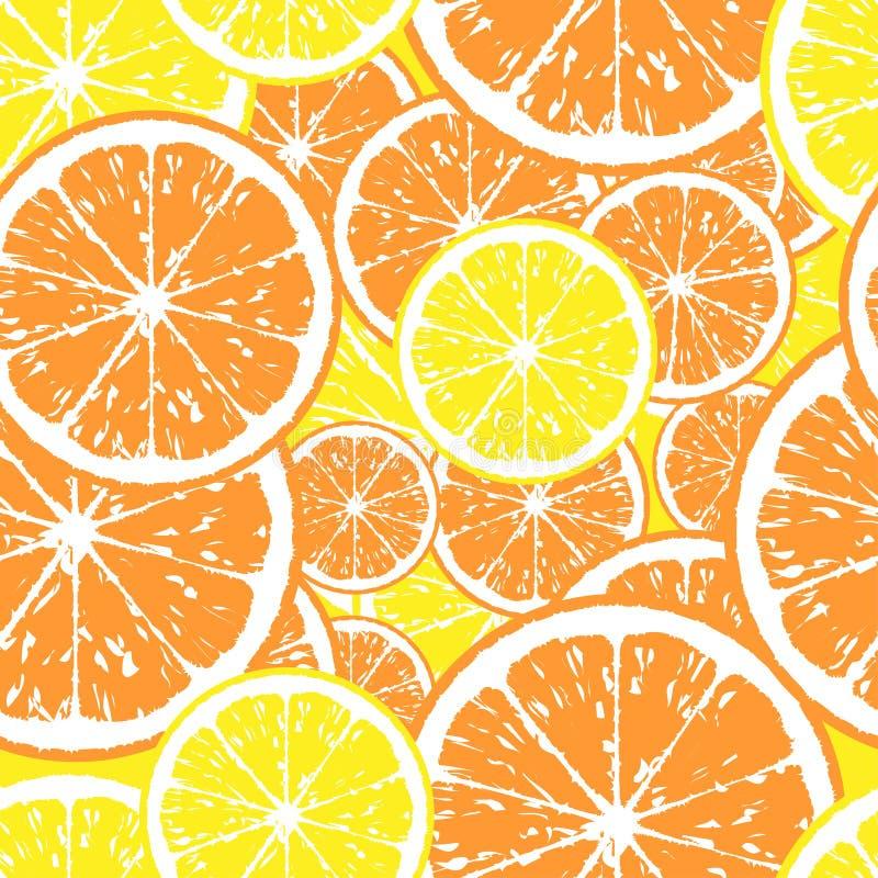 Teste padrão sem emenda de fatias da laranja e do limão ilustração do vetor