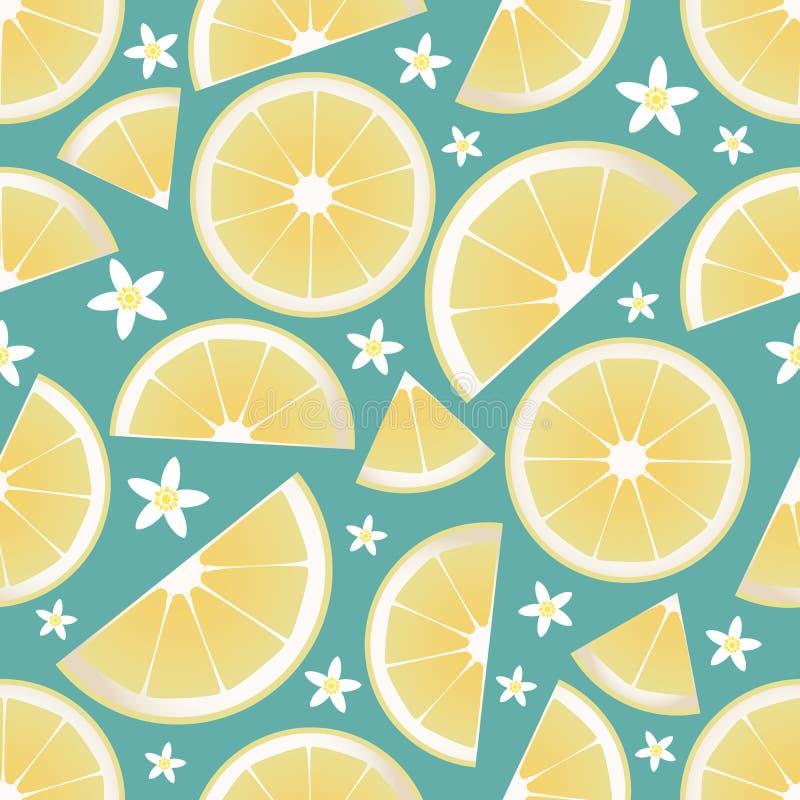 Teste padrão sem emenda de fatias do limão e de flores alaranjadas da flor ilustração royalty free