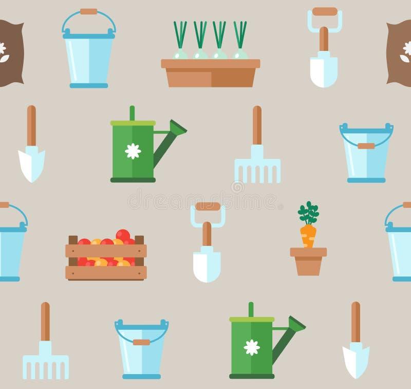 Teste padrão sem emenda de ferramentas de jardinagem Planejador fl do jardim vegetal ilustração royalty free