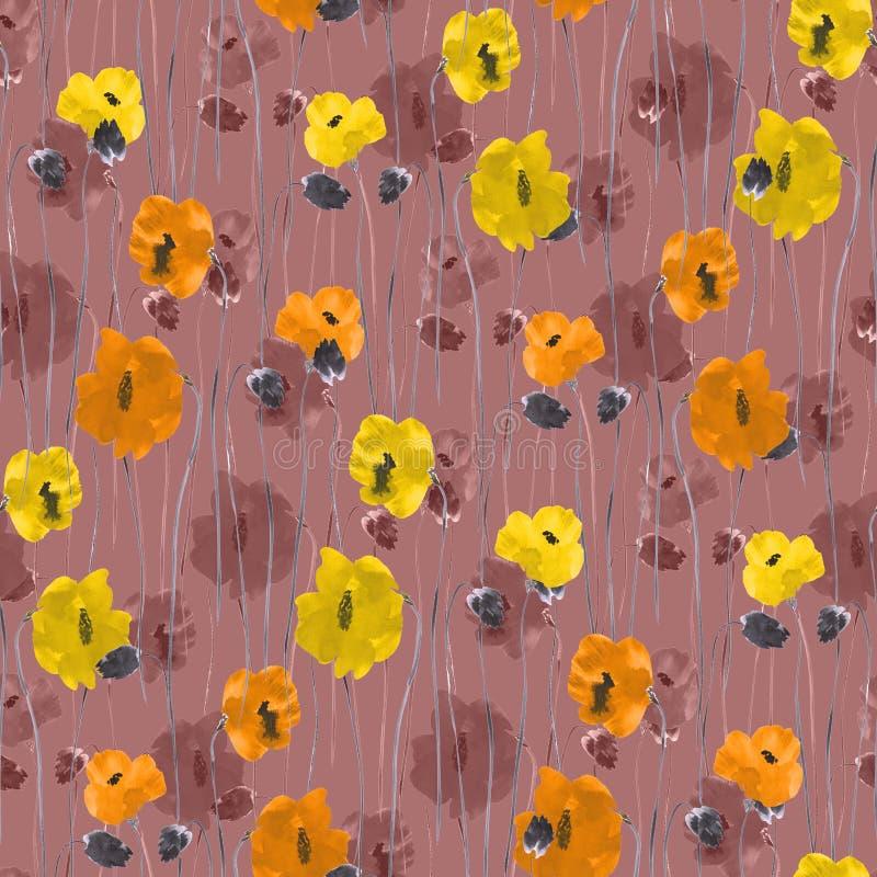 Teste padrão sem emenda de flores amarelas, alaranjadas, bege em um profundo - fundo cor-de-rosa watercolor ilustração royalty free