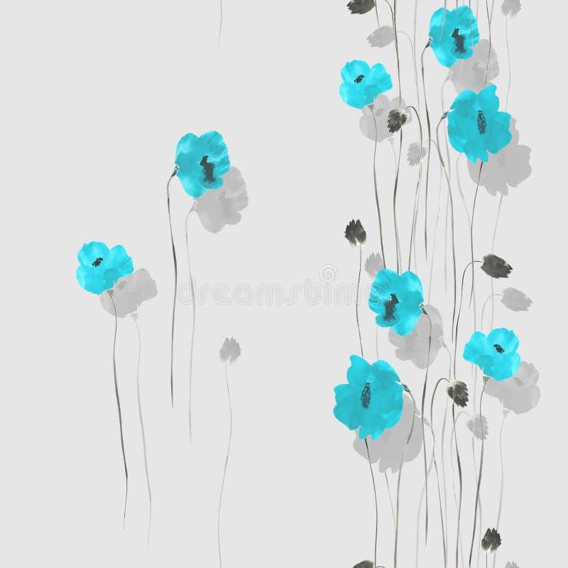 Teste padrão sem emenda de flores azuis das papoilas em uma luz - fundo cinzento watercolor ilustração stock