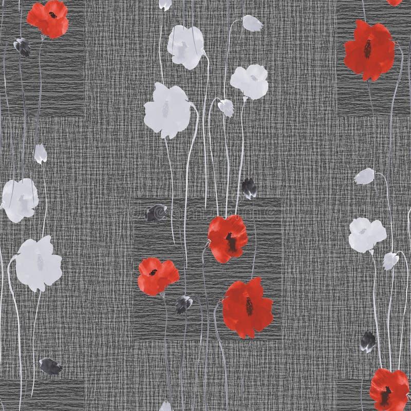 Teste padrão sem emenda de flores brancas e vermelhas selvagens em um escuro - fundo cinzento com quadrados watercolor ilustração do vetor