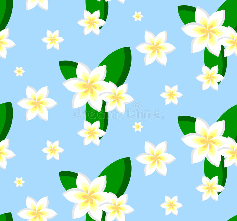 Teste padrão sem emenda de flores do plumeria ilustração do vetor