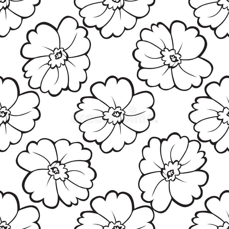 Teste padrão sem emenda de flores preto e branco ilustração royalty free