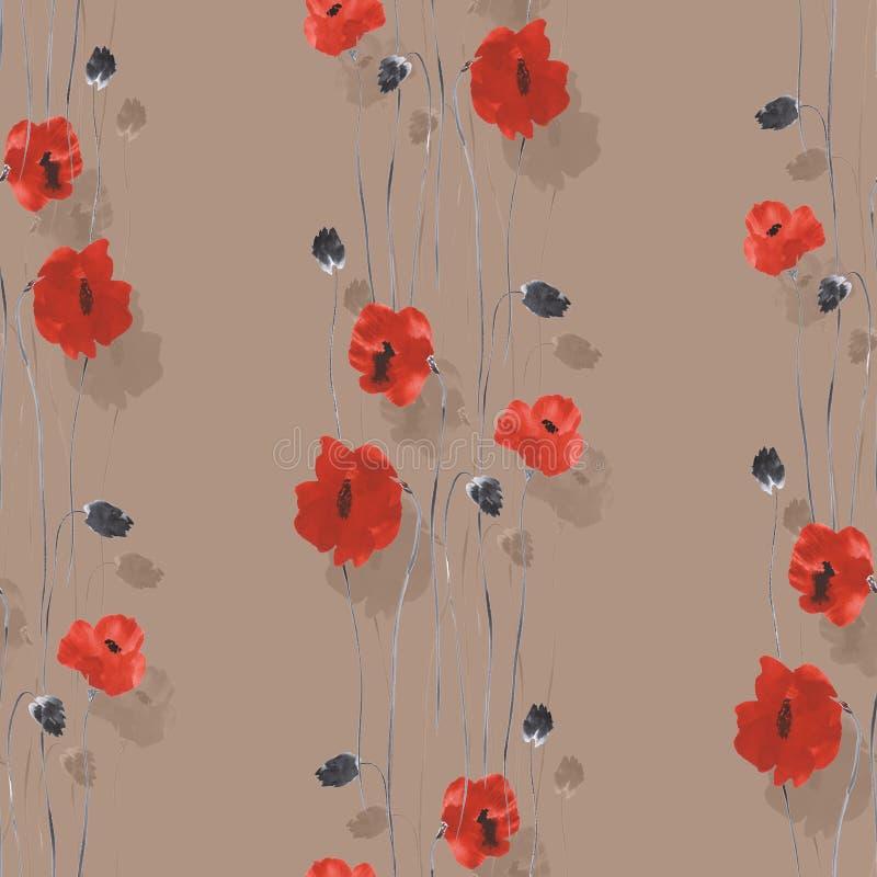 Teste padrão sem emenda de flores vermelhas e bege das papoilas em um fundo bege Aquarela -1 ilustração royalty free