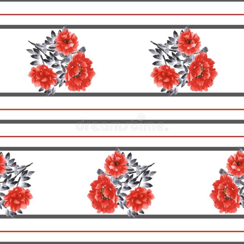 Teste padrão sem emenda de flores vermelhas em um fundo branco com as listras horizontais pretas e vermelhas Aquarela -3 ilustração stock