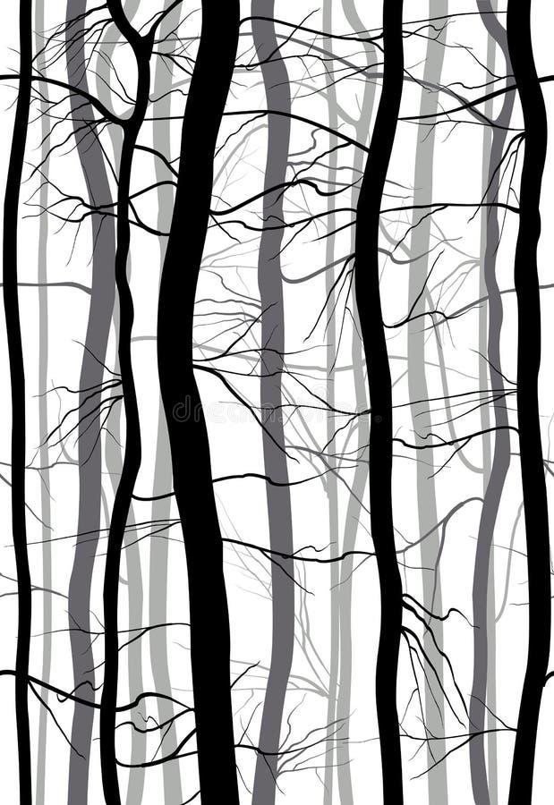 Teste padrão sem emenda de Forest Branches A mola monocromática, árvores desencapadas do inverno vector a ilustração ilustração stock