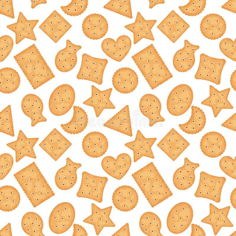 Teste padrão sem emenda de formas diferentes das microplaquetas do biscoito no fundo branco Cookies do biscoito para o café da ma ilustração do vetor