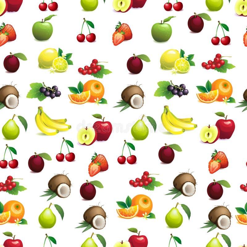 Teste padrão sem emenda de frutos diferentes com folhas e flores ilustração do vetor