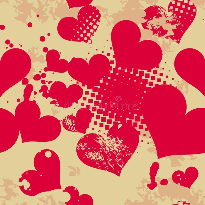 Teste padrão sem emenda de Grunge com corações. ilustração do vetor