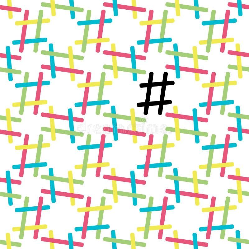 Teste padrão sem emenda de Hashtag no branco ilustração do vetor