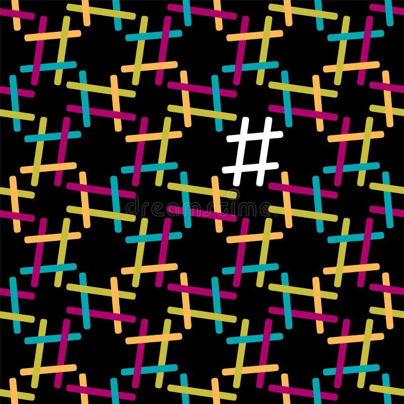 Teste padrão sem emenda de Hashtag no fundo preto ilustração stock