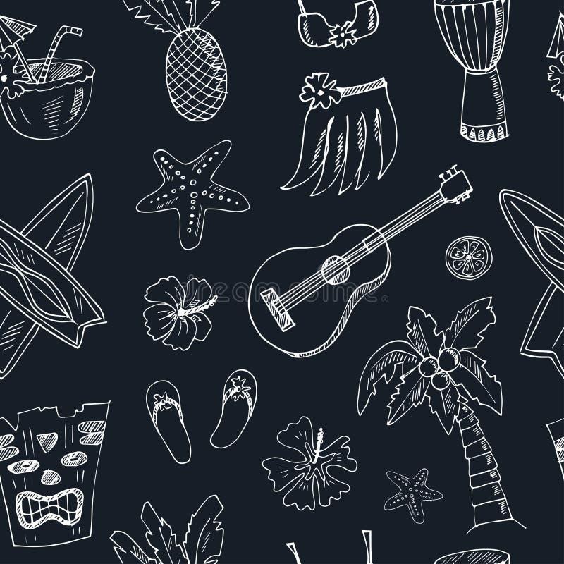 Teste padrão sem emenda de Havaí, incluindo a saia de Hula, deuses do tiki, totem, cilindros, guitarra, palma ilustração royalty free