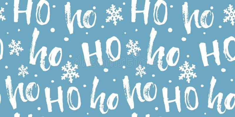 Teste padrão sem emenda de Hohoho para o envolvimento, a tela e o papel de presentes do Natal Fundo azul engraçado com texto bran ilustração stock