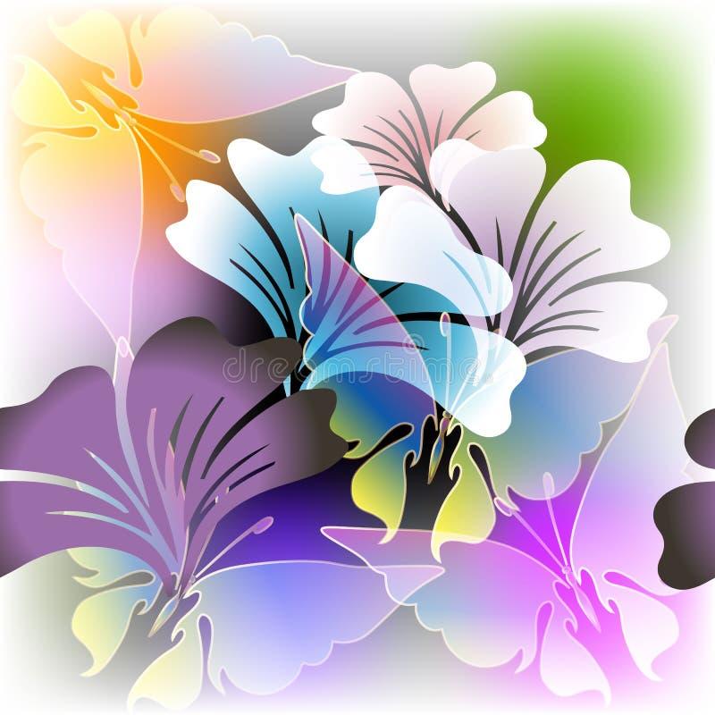 Teste padrão sem emenda de incandescência floral colorido do vetor do verão da mola ilustração stock