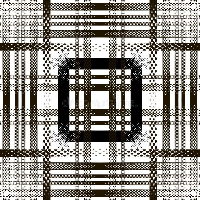 Teste padrão sem emenda de intervalo mínimo listrado Fundo preto e branco da manta de tartã do vetor Repita o contexto moderno ge ilustração royalty free