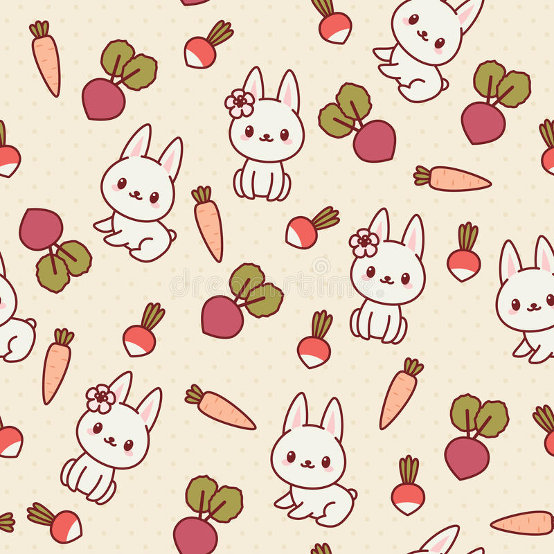 Teste padrão sem emenda de Kawaii com coelhos e vegetais ilustração royalty free