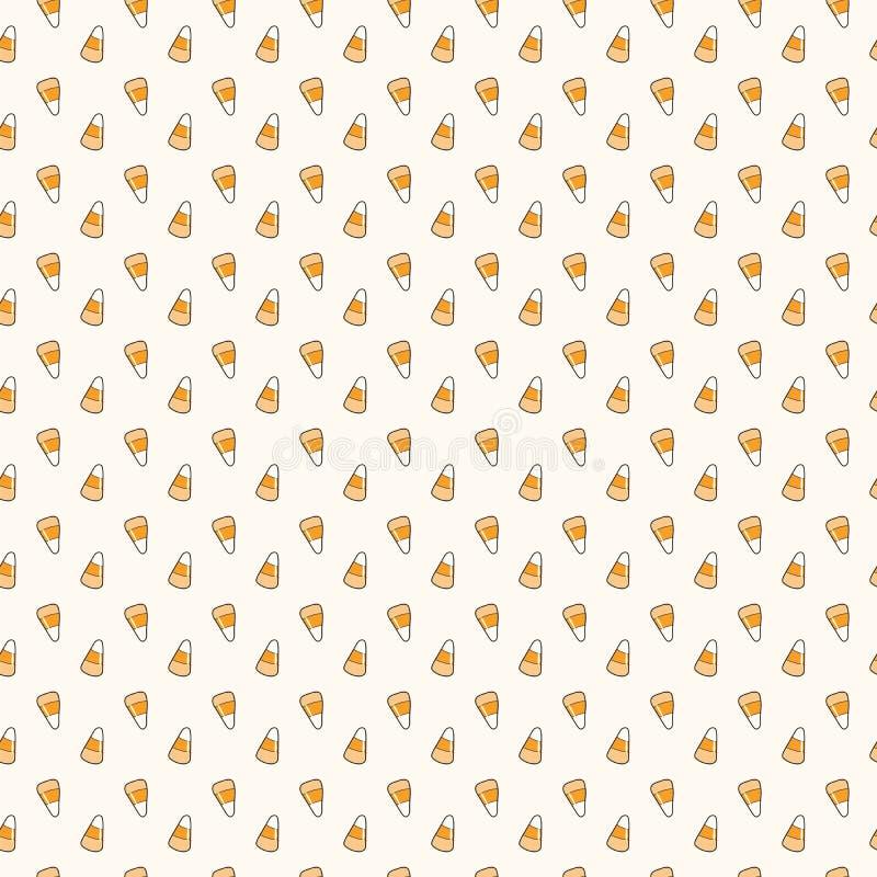 Teste padrão sem emenda de Kawaii Dia das Bruxas com doces do milho ilustração royalty free