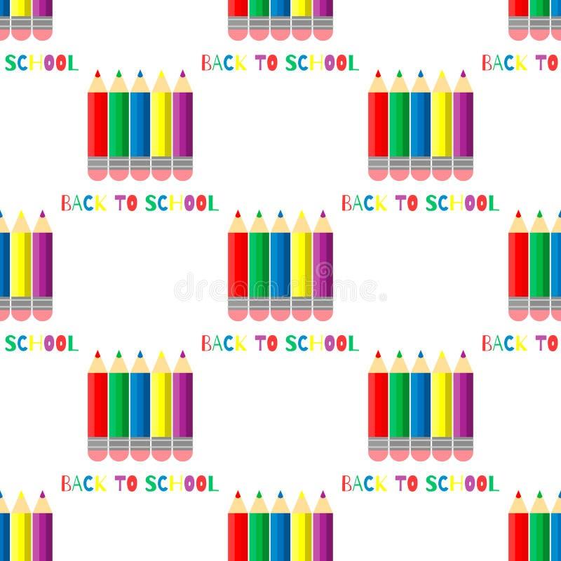 Teste padrão sem emenda de lápis coloridos no fundo branco De volta à inscrição da escola ilustração stock
