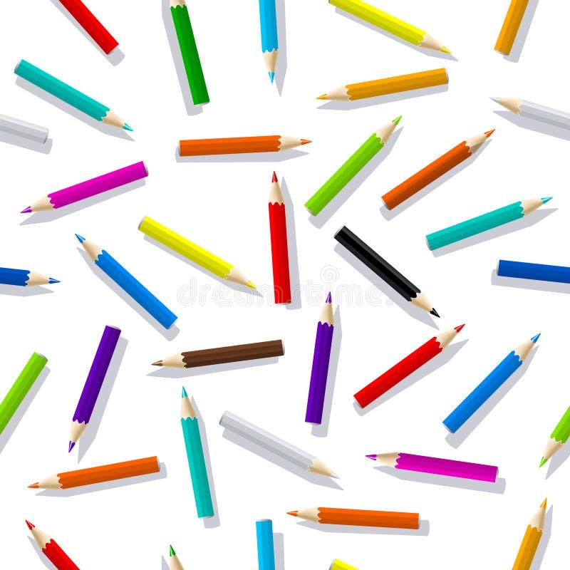 Teste padrão sem emenda de lápis da cor Ilustração isolada colorida do vetor Vetor EPS 10 ilustração do vetor