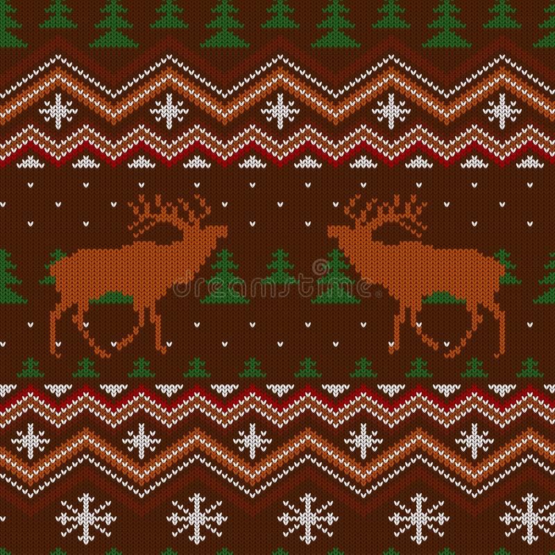 Teste padrão sem emenda de lã feito malha inverno com veados vermelhos e árvores de Natal ilustração do vetor
